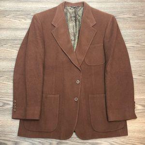 Bill Blass Caramel Brown Camel Hair Blazer 42R